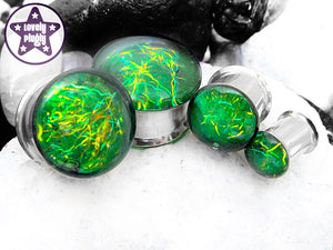 Ear Plugs / Gauges: Entanglement Green Yellow Gold Galaxy Glitter