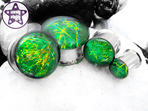 Ear Plugs / Gauges -Entanglement Green Yellow Coarsely Spaghettified Galaxy Plugs PREORDER