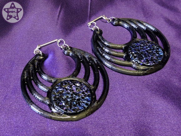 Ear Weights / Hangies: Black & Blue Purple Faux Druzy Ra Hoops PAIR