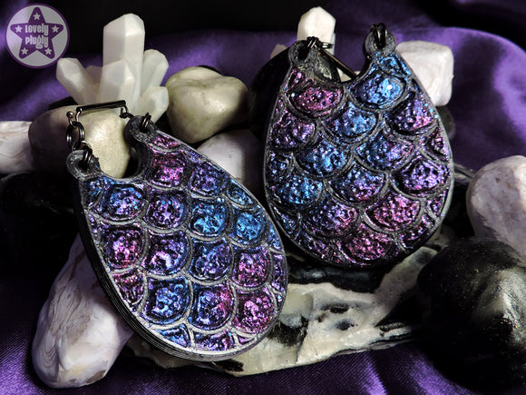 Ear Weights / Hangies: Black Dragon Egg Blue Purple Faux Druzy PAIR