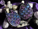 Ear Weights / Hangies - Dragon Egg Purple Blue Faux Druzy with Black Ice PLA 6mm+ / 2g+ PAIR READY NOW