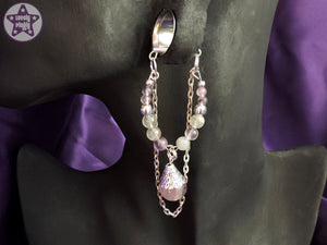 Ear Weights / Hangies - Fluorite with Silver Copper Chain 6mm+ / 2g+ PAIR READY NOW