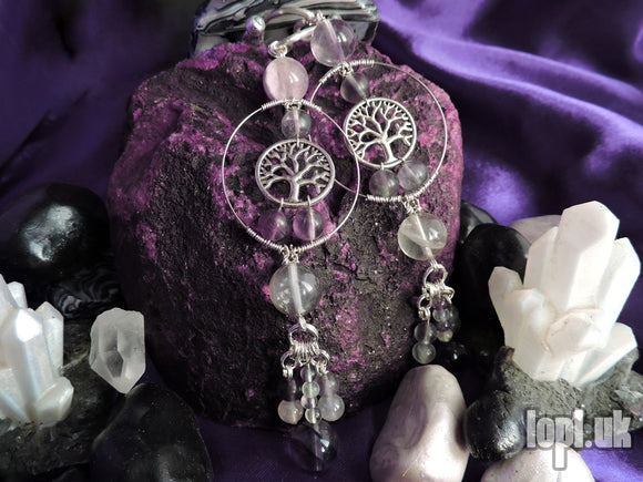 Ear Weights / Hangies - Fluorite Tree of Life Silver Hooked 8mm+ / 0g+ PAIR READY NOW