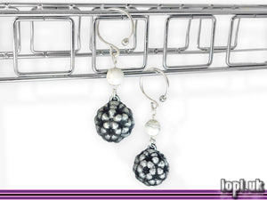 Ear Weights / Hangies: Silver-tone & White Howlite Fractal Flowers A PAIR