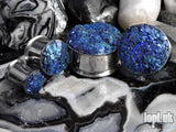 Ear Plugs / Gauges - Glitterati Blue Teal Faux Druzy Glitter Plugs PREORDER