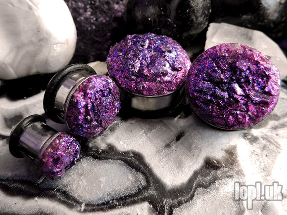 Ear Plugs / Gauges - Glitterati Pink Purple Faux Druzy Glitter Plugs PREORDER