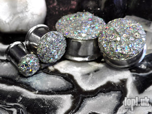 Ear Plugs / Gauges - Glitterati Silver Holographic Faux Druzy Glitter Plugs PREORDER