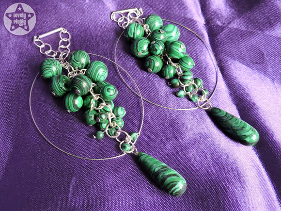 Ear Weights / Hangies: Green Black Malachite Stone Teardrop Hoops PAIR