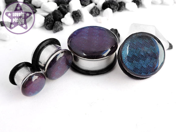 Ear Plugs / Gauges - Spectrocarb Carbon Fibre Duochrome Green Purple Plugs PREORDER
