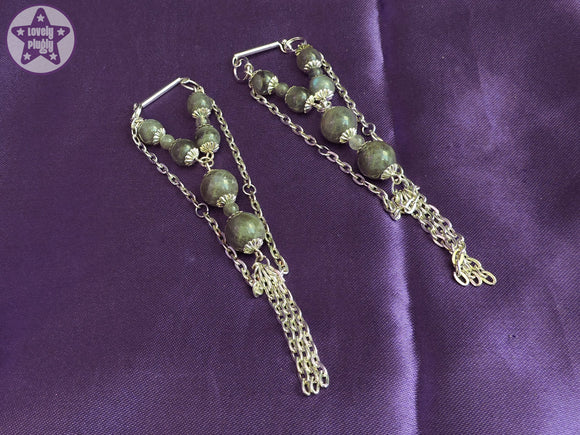 Ear Weights / Hangies - Madagascan Labradorite Chain Tassle Hangies 6mm+ / 2g+ PAIR READY NOW