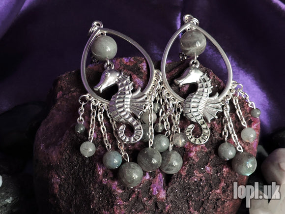 Ear Weights / Hangies - Grey Labradorite Seahorse Silver Chandeliers PAIR READY NOW