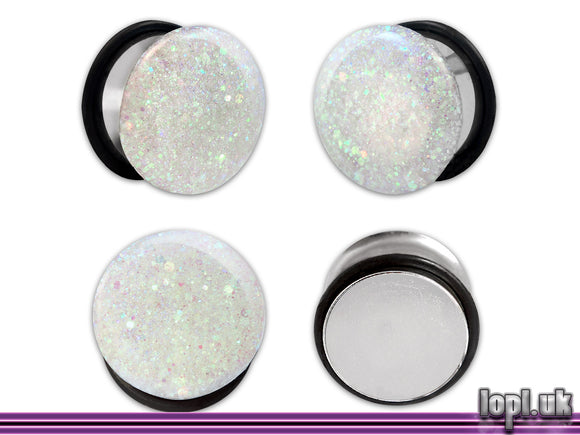 Ear Plugs / Gauges: Ice Planet of Hoth White Blue Iridescent Glitter