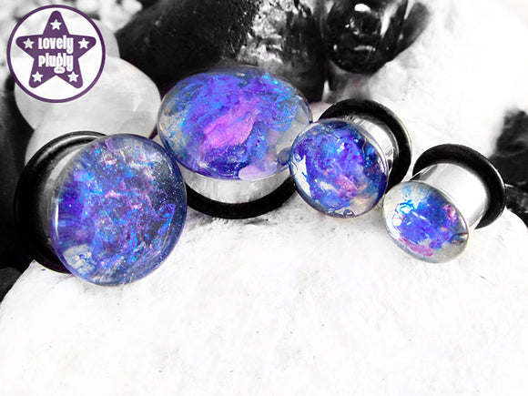 Ear Plugs / Gauges - Implosion Clear Blue Purple Splatter Plugs PREORDER