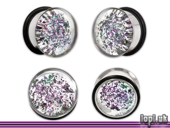 Ear Plugs / Gauges: Messier M901 Green Purple Clear Galaxy Glitter