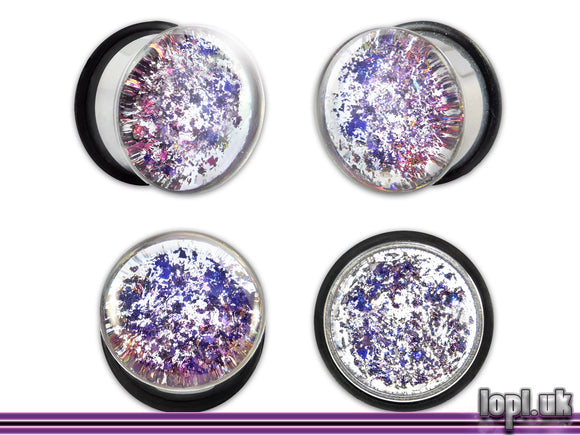 Ear Plugs / Gauges: Messier M902 Blue Purple Clear Galaxy Glitter