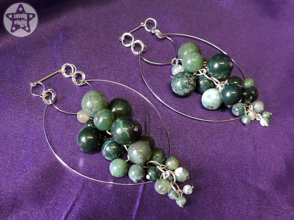 Ear Weights / Hangies: Moss Agate Stone Cascade Silver Tone Hoop PAIR