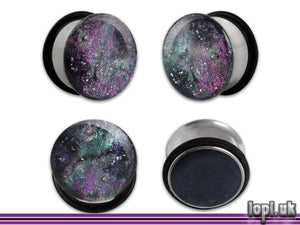 Ear Plugs / Gauges: Nice Nebula Purple Green Chameleon Galaxy Glitter