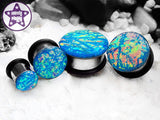 Ear Plugs / Gauges - Faux Dichroic Ocean of Tiedye Blue Orange Green Plugs PREORDER