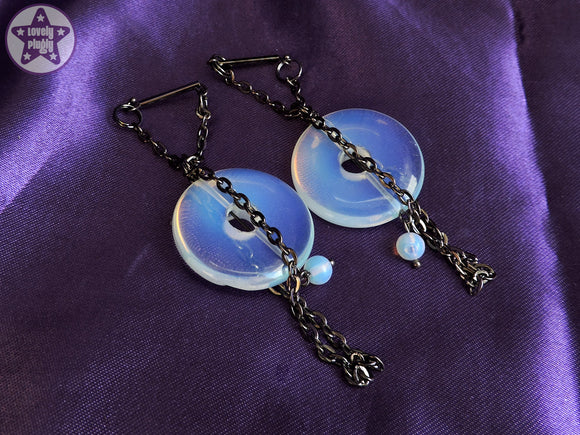 Ear Weights / Hangies: Blue Opalite Donut Gunmetal Chain Tassle PAIR