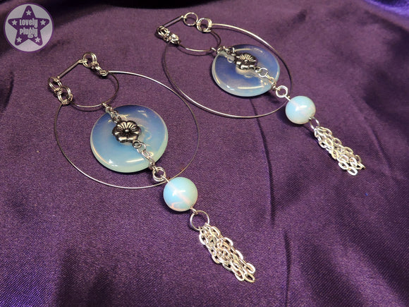 Ear Weights / Hangies: Blue Opalite Donut Silver Tone Hoop Tassle PAIR