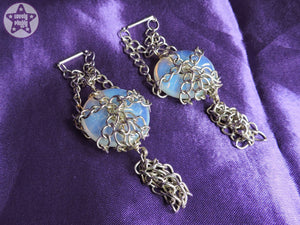 Ear Weights / Hangies: Blue Opalite Stone Donut Silver Chain PAIR