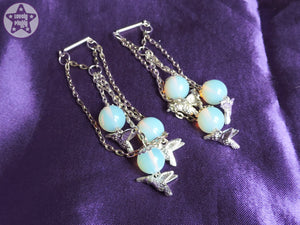 Ear Weights / Hangies - Blue Opalite with Silver Chain Hummingbirds 6mm+ / 2g+ PAIR READY NOW