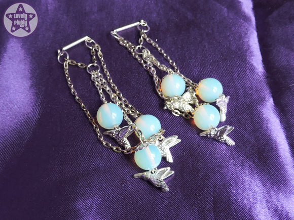 Ear Weights / Hangies: Blue Opalite Silver Chain Hummingbirds PAIR