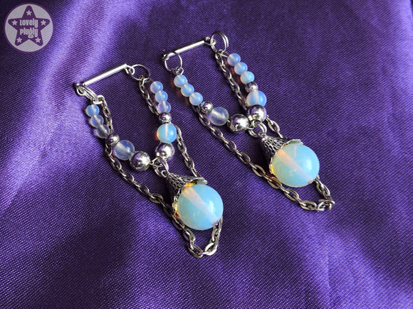 Ear Weights / Hangies: Blue Opalite with Silver Copper Chain PAIR