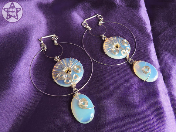 Ear Weights / Hangies: Blue Opalite Stone Donut Silver Wire Wrap PAIR