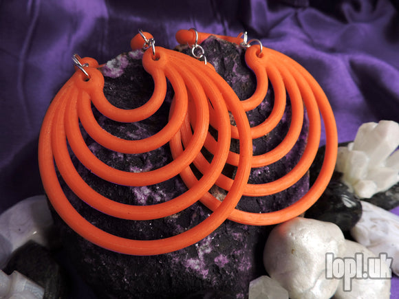 Ear Weights / Hangies: Orange & Silver Tone Super Hoops PAIR