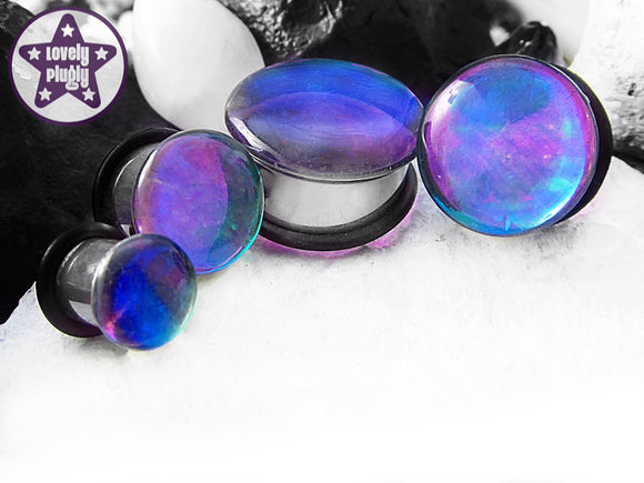 Ear Plugs / Gauges - Faux Dichroic Translucent Photon Blue Purple Green Plugs PREORDER