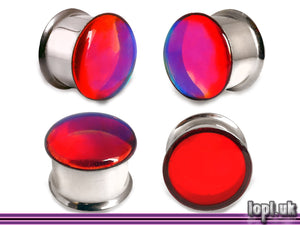 Ear Plugs / Gauges: Photon Red Blue Green Translucent Faux Dichroic