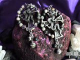 Ear Weights / Hangies: Cross & Dragon with Picasso Jasper Stone PAIR
