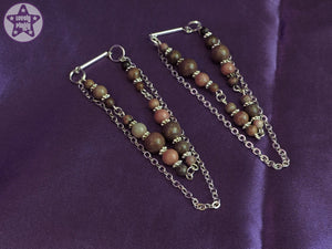 Ear Weights / Hangies - Pink Brown Rhodonite Chain Hangies 6mm+ / 2g+ PAIR READY NOW