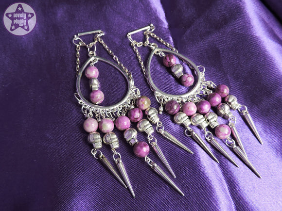 Ear Weights / Hangies - Spikes, Skulls and Purple Charoite Chain Chandeliers PAIR READY NOW
