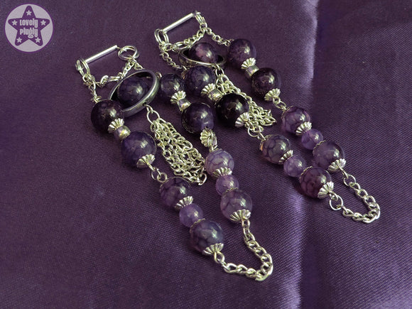 Ear Weights / Hangies: Purple Dragon Vein Agate Silver Tone Chain PAIR