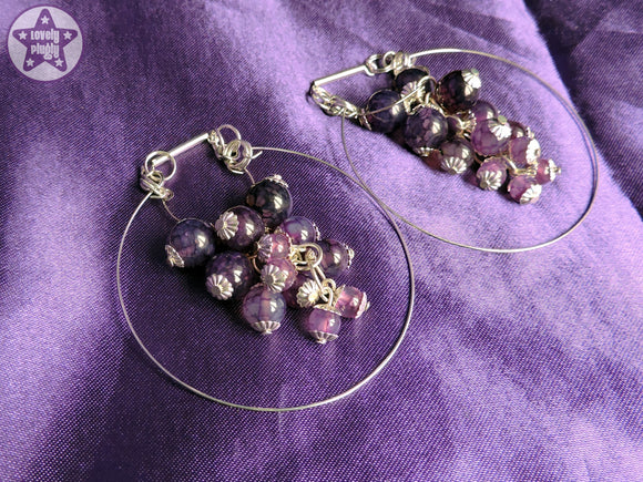 Ear Weights / Hangies: Purple Dragon Vein Agate Stone Hoops PAIR