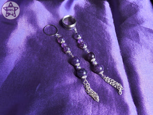 Ear Weights / Hangies - Purple Dragon Vein Agate Tassle Plug Pendants PAIR READY NOW