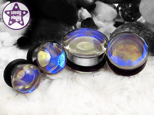 Ear Plugs / Gauges: Raindrop Blue Clear Iridescent