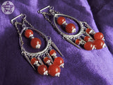 Ear Weights / Hangies - Spikes and Red Agate Chain Chandeliers PAIR READY NOW