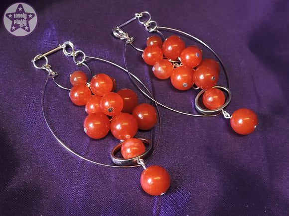 Ear Weights / Hangies: Orange Red Agate Stone Cascade Silver Hoop PAIR