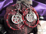 Ear Weights / Hangies: Steel, Red & Silver Pentagram Dragon Hoops PAIR