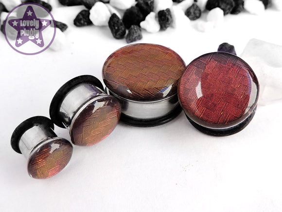 Ear Plugs / Gauges - Spectrocarb Carbon Fibre Duochrome Red Gold Plugs PREORDER