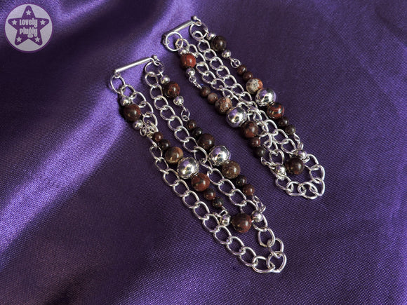 Ear Weights / Hangies - Red Jasper Heavy Chain Hangies 6mm+ / 2g+ PAIR READY NOW