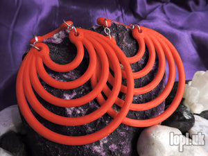 Ear Weights / Hangies - Red Super Hoops 8mm+ / 0g+ PAIR READY NOW