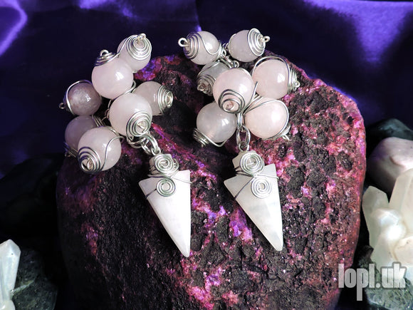 Ear Weights / Hangies - Rose Quartz Wire Wrapped Arrowheads 6mm+ / 2g+ PAIR READY NOW