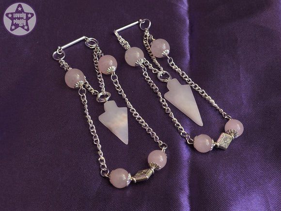 Ear Weights / Hangies - Rose Quartz Chain Hangies 6mm+ / 2g+ PAIR READY NOW