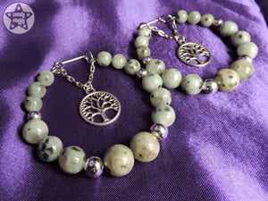 Ear Weights / Hangies - Tree of Life Sesame Jasper Stone Hoops Cascades PAIR READY NOW