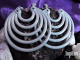 Ear Weights / Hangies - Silver Ice Super Hoops 8mm+ / 0g+ PAIR READY NOW