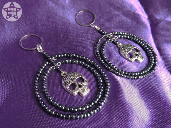 Ear Weights / Hangies: Black Bead Sugar Skull Hoops Ear Pendants PAIR